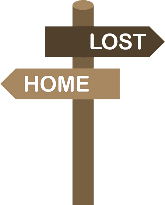 Lost and Home sign